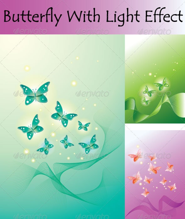 Butterfly With Light Effect - Backgrounds Decorative