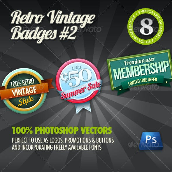8 Retro Vintage badges #2