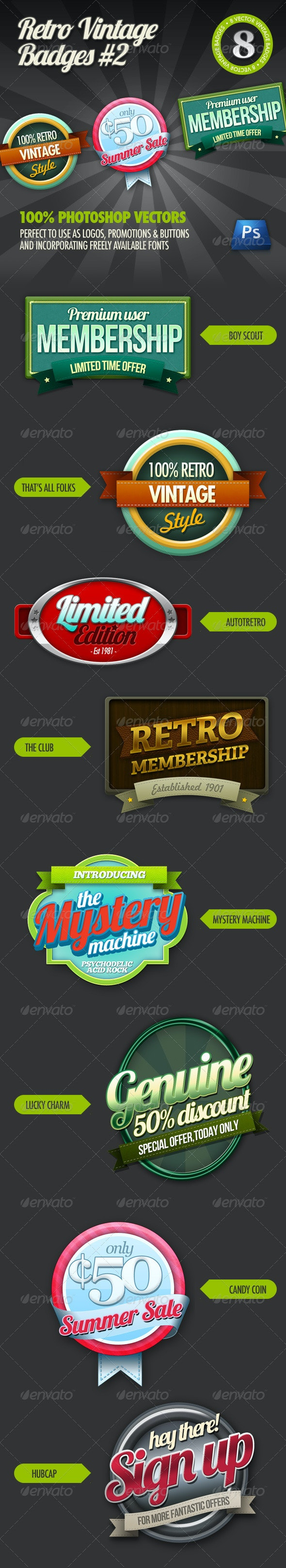 8 Retro Vintage badges #2 - Badges & Stickers Web Elements