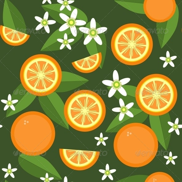 Seamless Orange Fruit and Flowers Texture 545 - Patterns Decorative