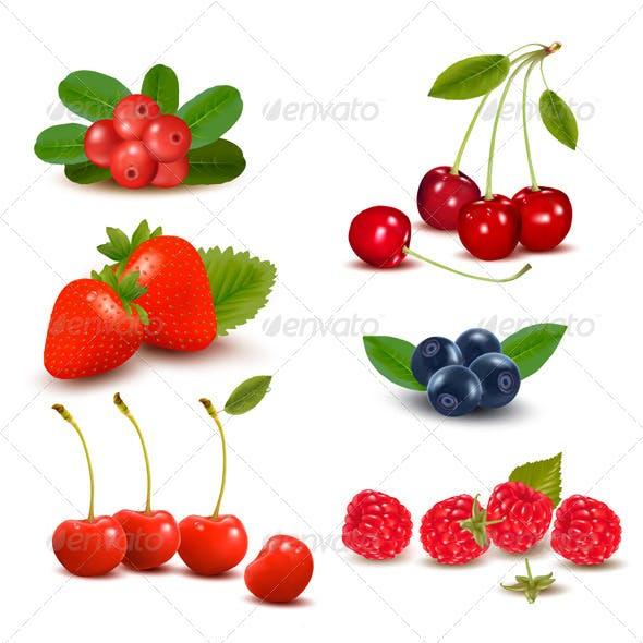 Group of Fresh Berries and Cherries