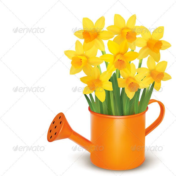 Spring Flowers with Watering Can