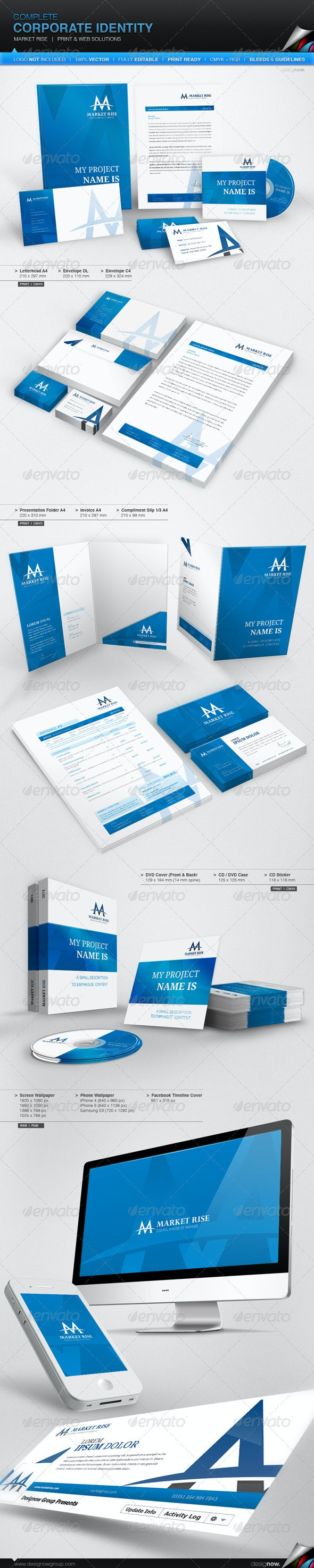 Corporate Identity - Market Rise - Stationery Print Templates