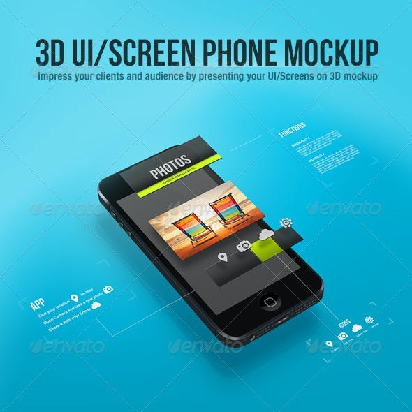 3D UI/Screen Phone Mockup