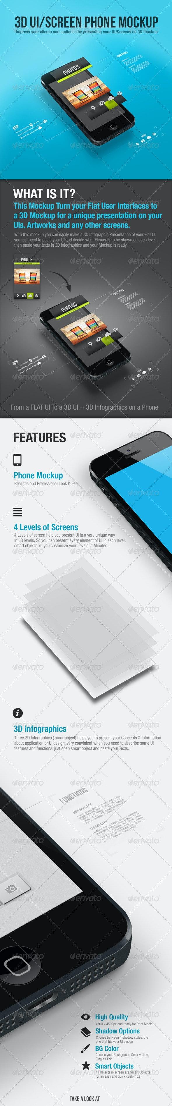 3D UI/Screen Phone Mockup - Mobile Displays