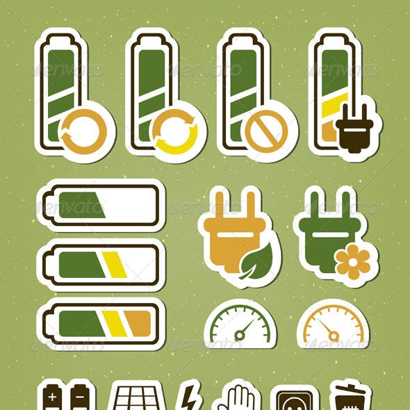 Battery Recycling Icons Set