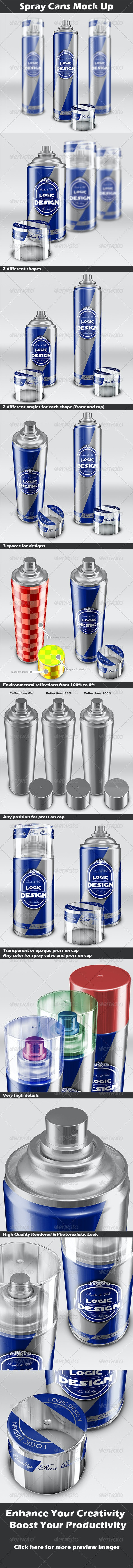 Spray Cans Mock Up - Miscellaneous Product Mock-Ups