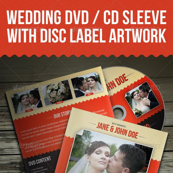 Wedding DVD / CD Sleeve With Disc Label