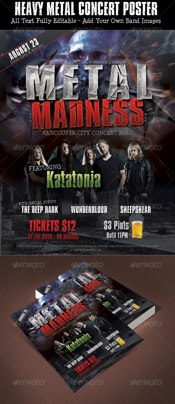 Heavy Metal Poster Photoshop Template - Concerts Events