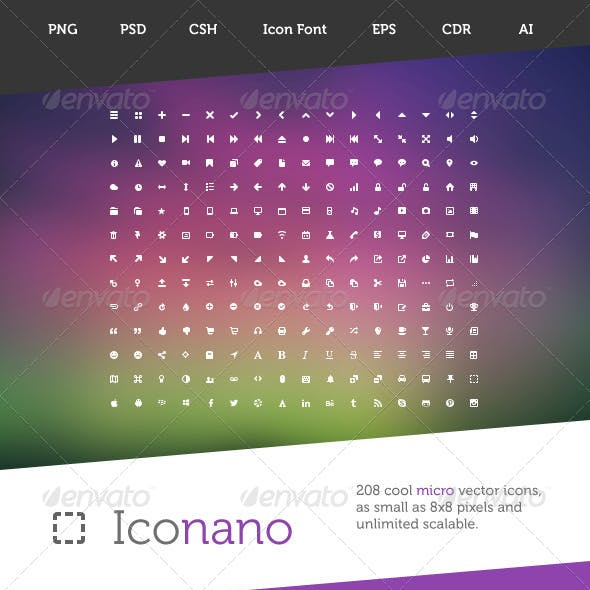 Iconano - 208 Micro Vector Icons