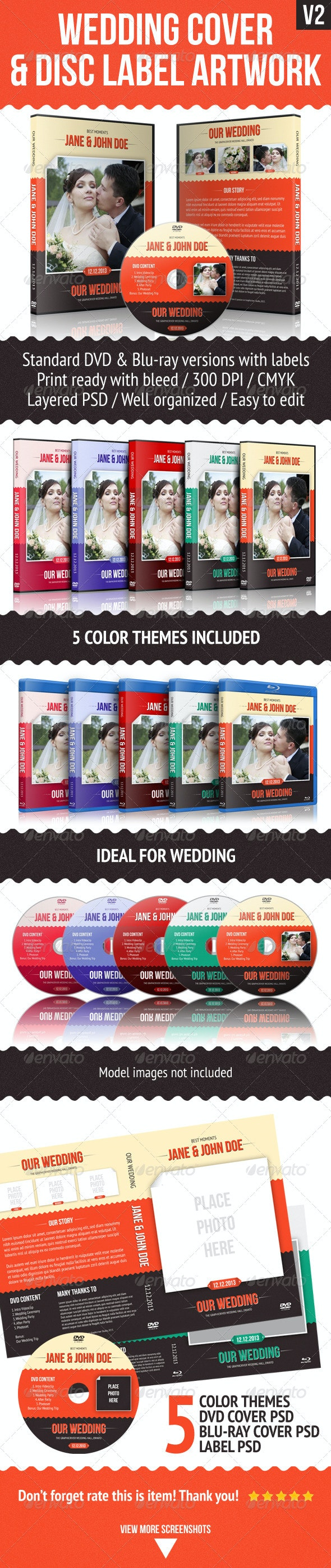 Wedding DVD Cover With Disc Label - CD & DVD Artwork Print Templates