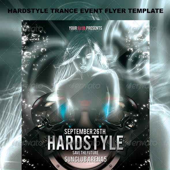 Hardstyle Trance Event Flyer Template