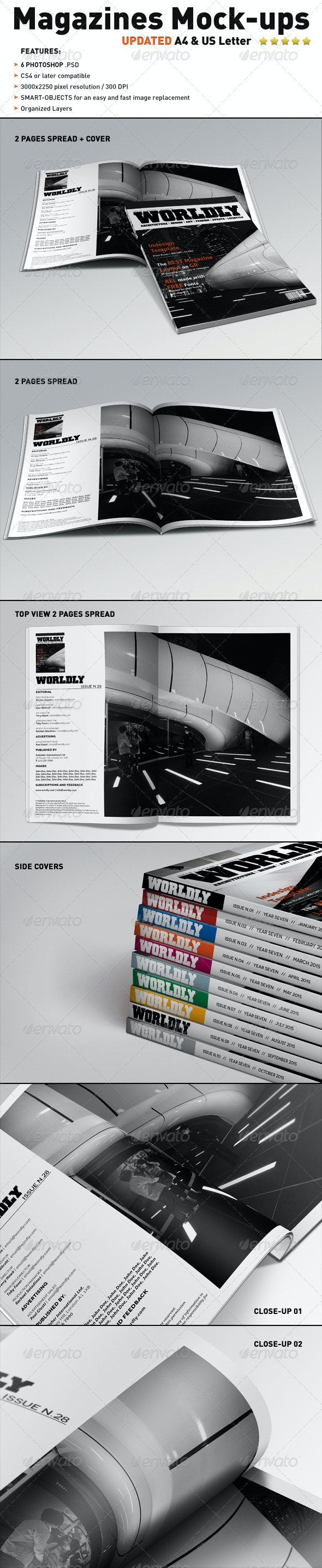 Realistic Magazines Mock-ups Templates - Magazines Print