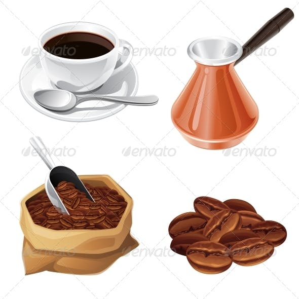 Coffee Beans, Turk, Cup, Bag of Coffee.