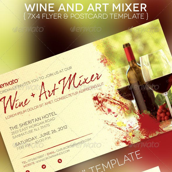 Wine Art Mixer Flyer Postcard Template
