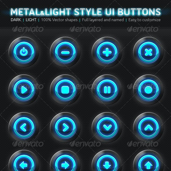 Metal & Light Style UI Buttons