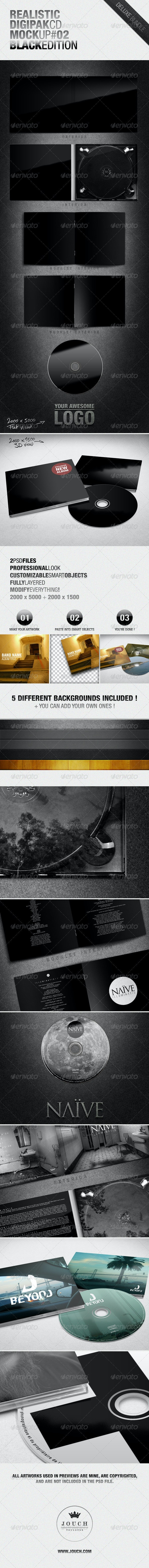 Realistic Digipak CD Mockup #02 Black Edition - Miscellaneous Product Mock-Ups
