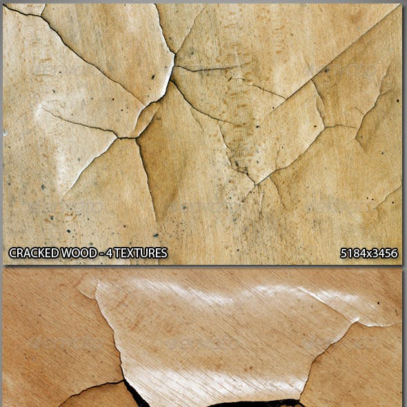 4 Cracked Wood Textures