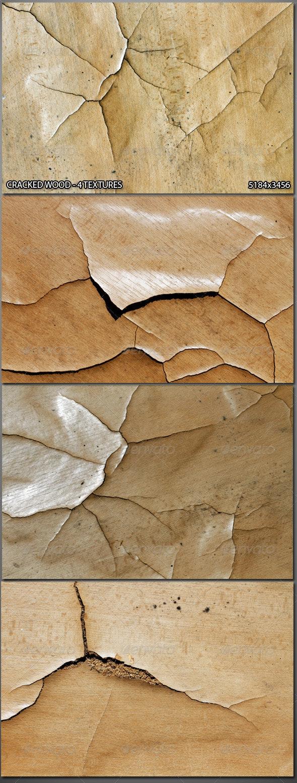 4 Cracked Wood Textures - Wood Textures