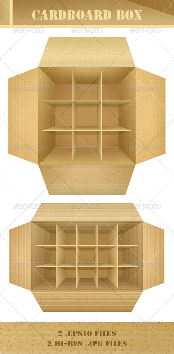Open Empty Corrugated Cardboard Packaging Box - Man-made Objects Objects
