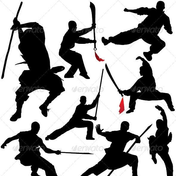 Kung Fu Shaolin Silhouettes