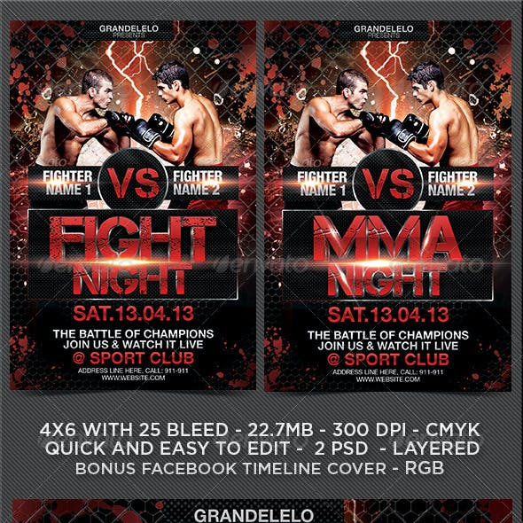 Fight or MMA Night Flyer Template