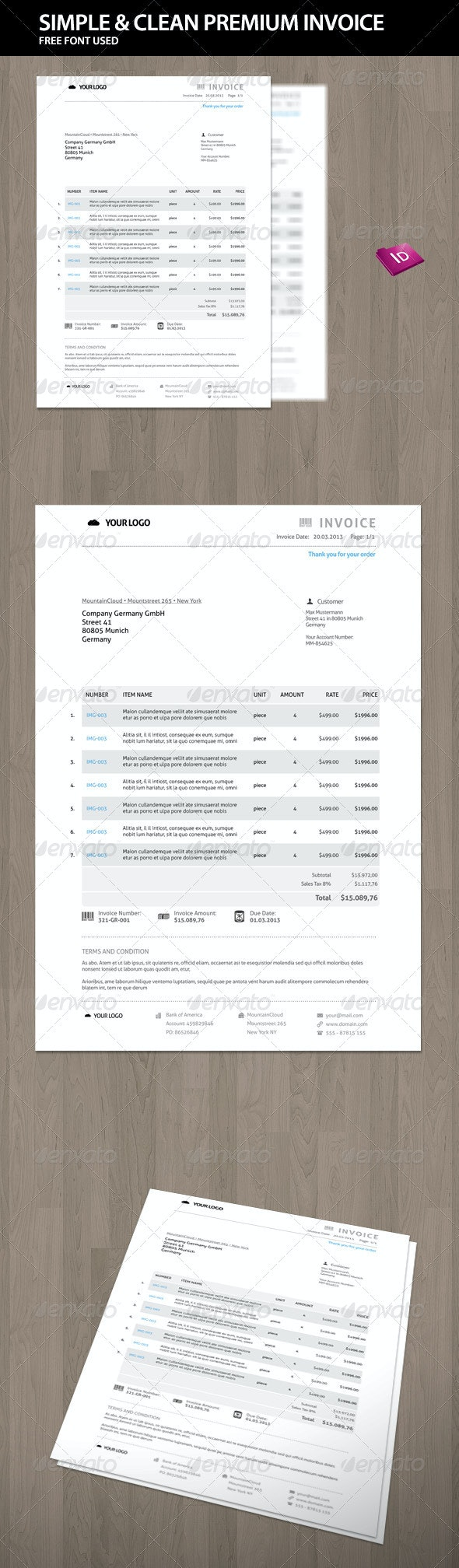 Clean and Simple Premium Invoice - Proposals & Invoices Stationery