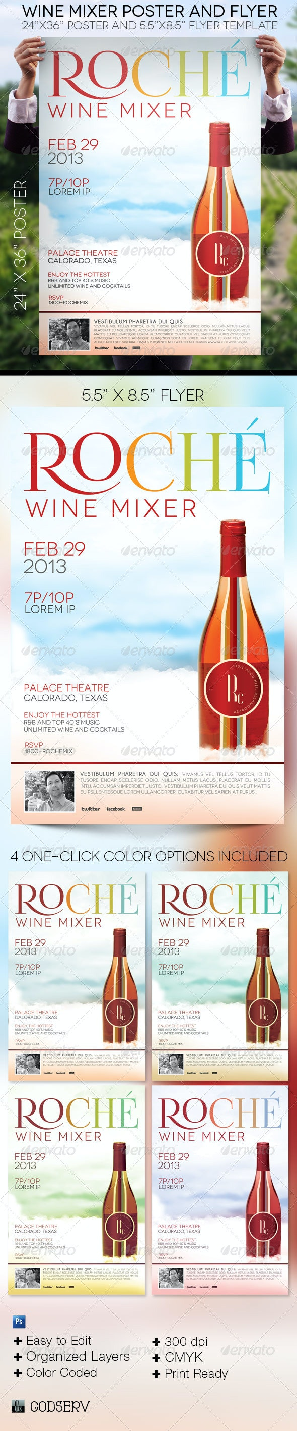 Wine Mixer Poster Flyer Template - Signage Print Templates