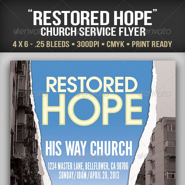 """Restored Hope"" Church Service Flyer"
