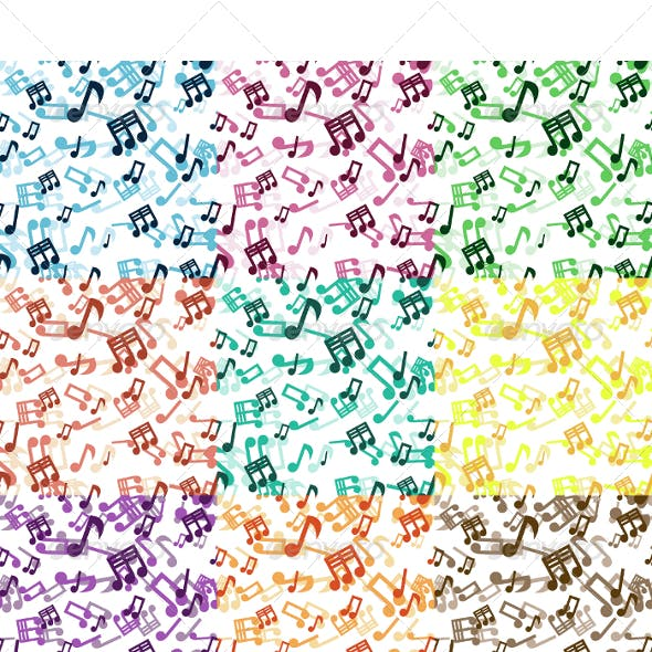 Seamless Musical Notes Pattern In 9 Colors