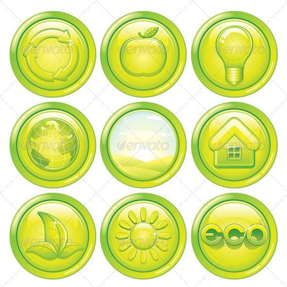 Ecology Icon Set. Set of Green Eco Buttons. Vector - Decorative Symbols Decorative