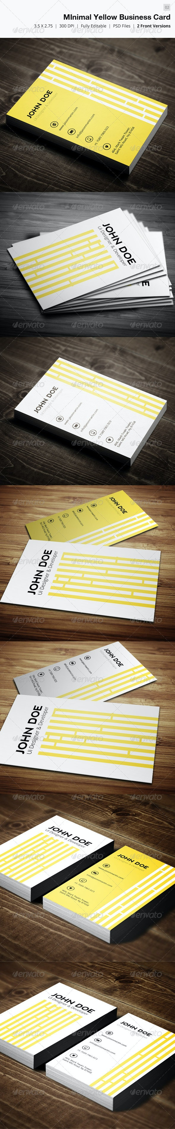 Minimal Yellow Business Card - 02 - Creative Business Cards