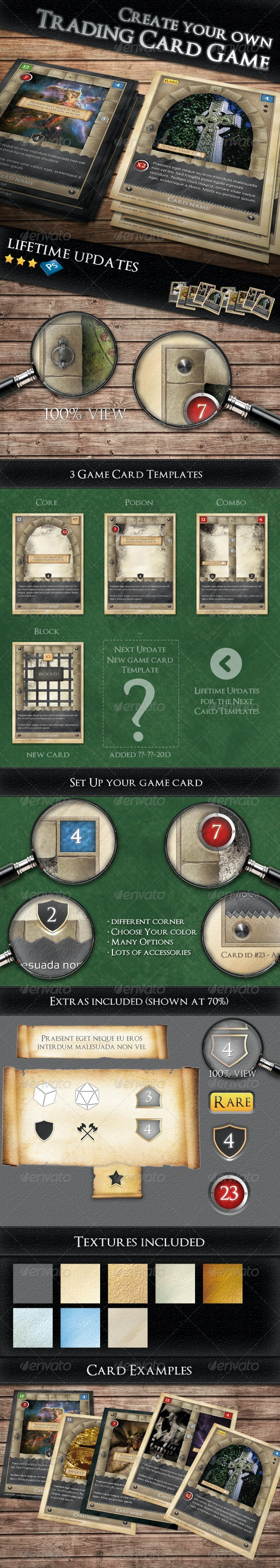 TCG - Fantasy Trading Card Game Kit in Medieval  - Miscellaneous Print Templates