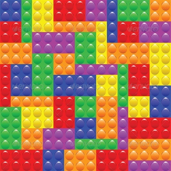 Seamless Background with Lego Block Construction