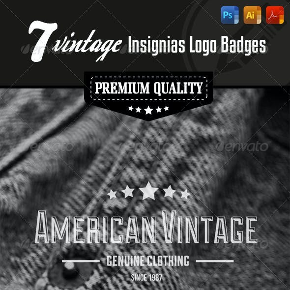 Premium Quality - 7 Vintage Insignias Logo Badges