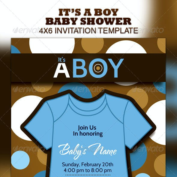Boy & Girl Baby Shower Invitation Template