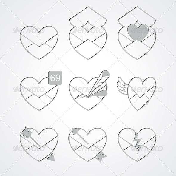 Love Message Icons Emboss Style
