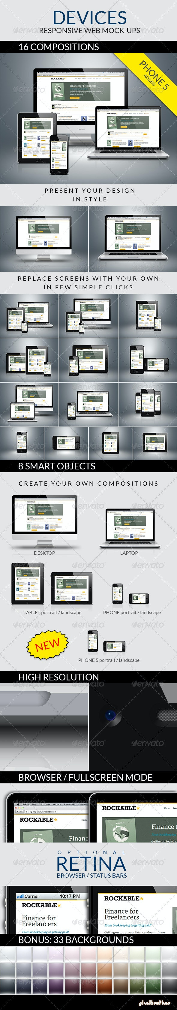 Devices - Responsive Web Mock-ups  - Multiple Displays