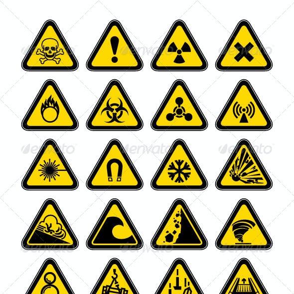 72 Hazard Warning Symbols, Labels Triangular