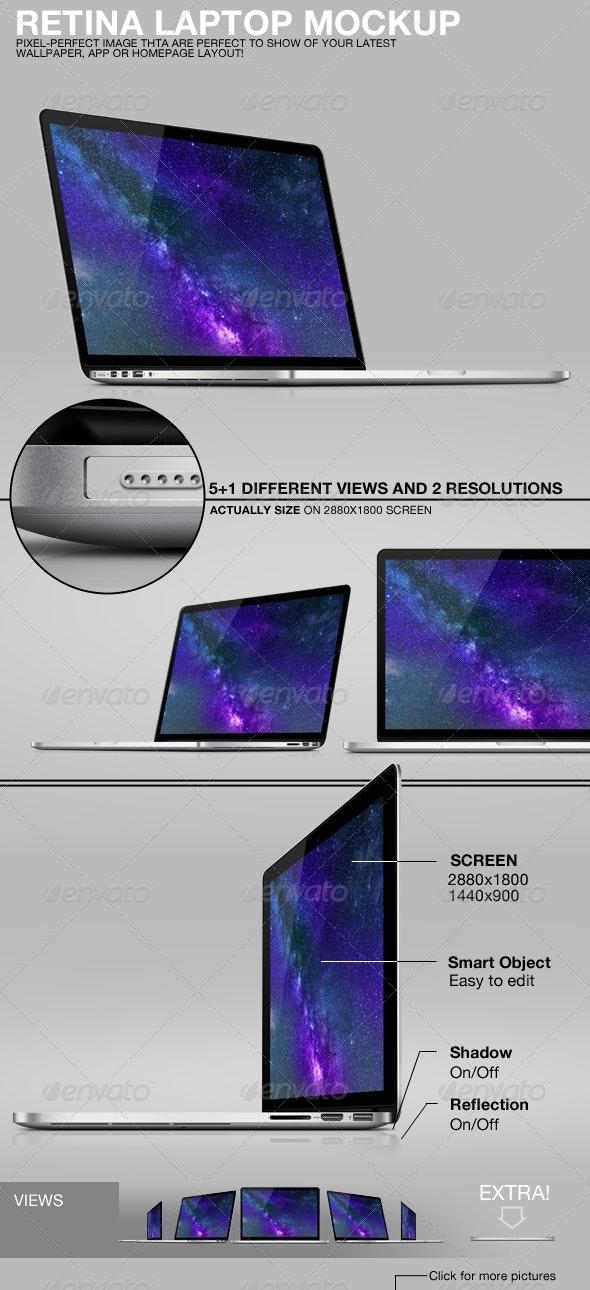 Retina Laptop Mockup - Monitors Displays