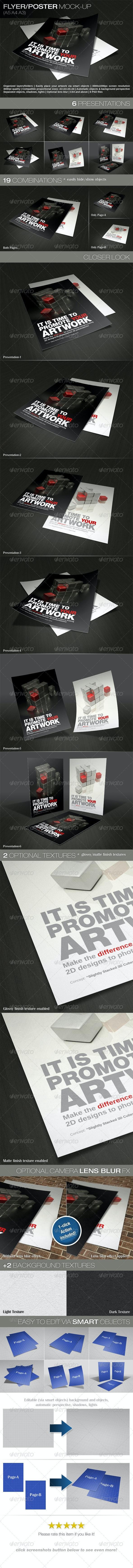 Photorealistic Flyer/Poster Mock-Up - Print Product Mock-Ups