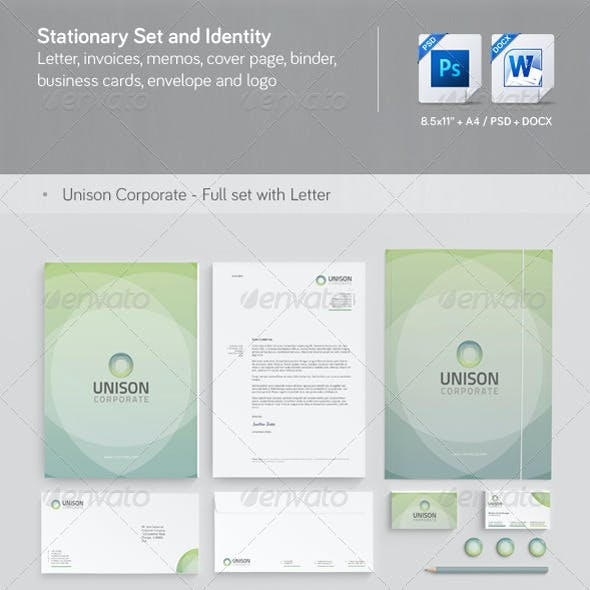Unison: Corporate Stationery, Invoice and Identity