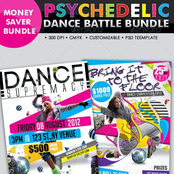Psychedelic Dance Battle Flyer Bundle #07