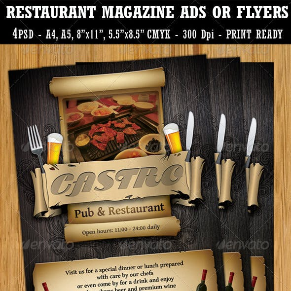 Restaurant-Bar Magazine Ads or Flyers Template