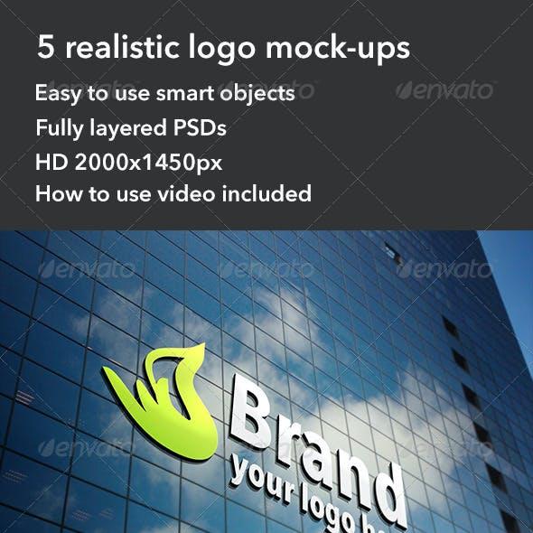 5 Realistic Interior & Exterior Logo Mockups