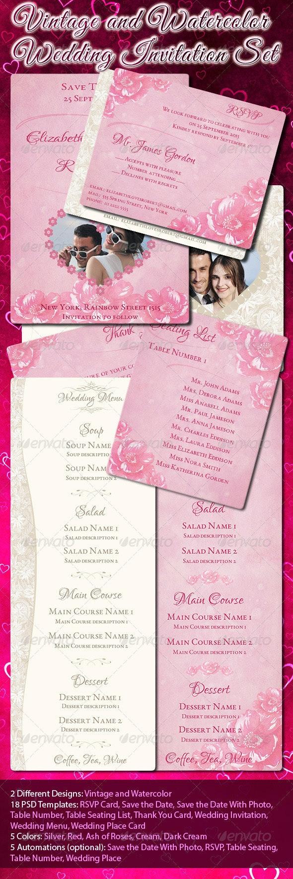 Vintage and Watercolor Wedding Invitation Set - Weddings Cards & Invites