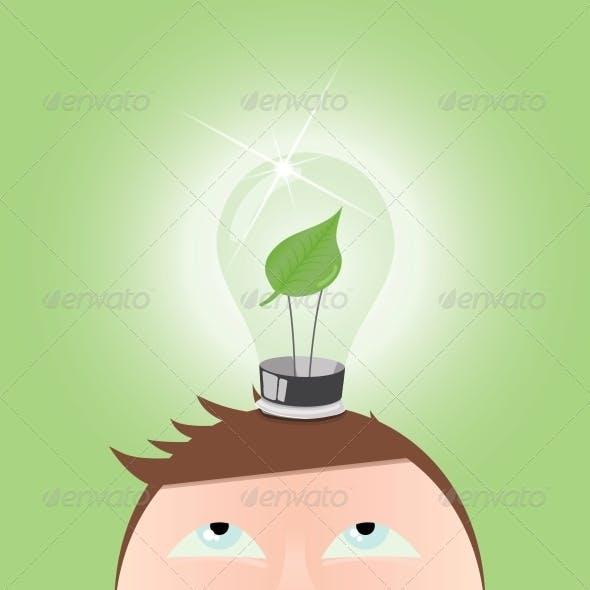 Green Idea Thinking Light Bulb