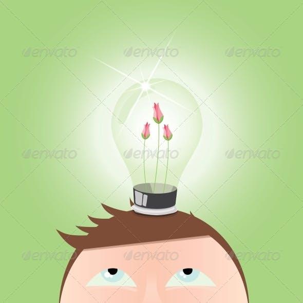 Ecology green Light Idea Bulb