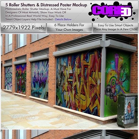 Security Roller Shutter & Poster Mockup