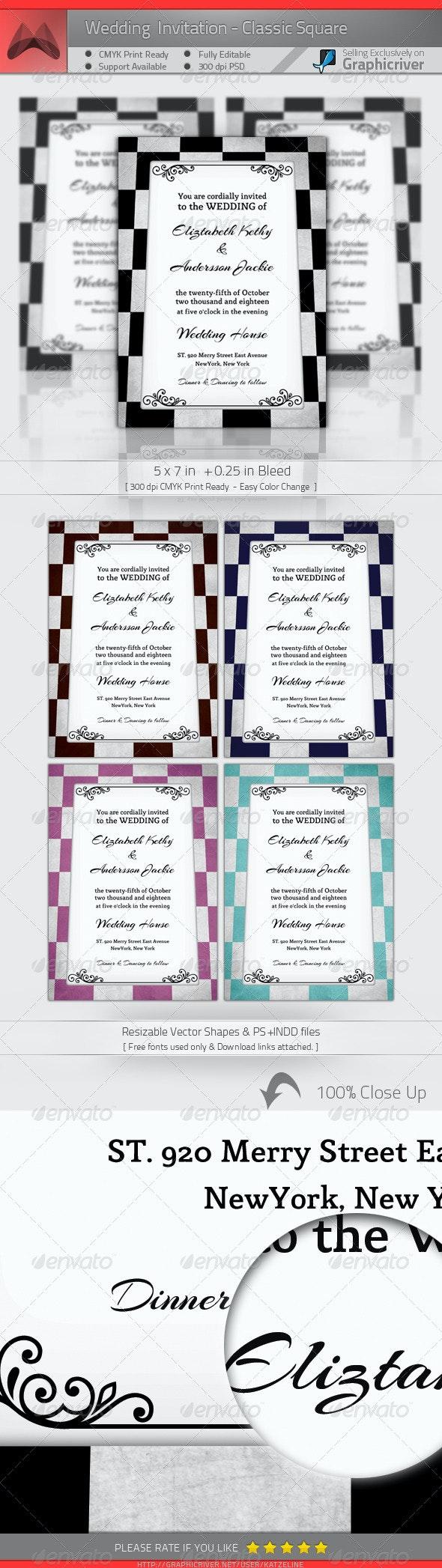 Wedding Invitation - Classic Square - Weddings Cards & Invites